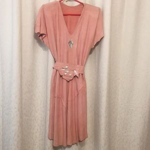 Dresses & Skirts - Vintage 80s Buttery soft pale pink suede dress